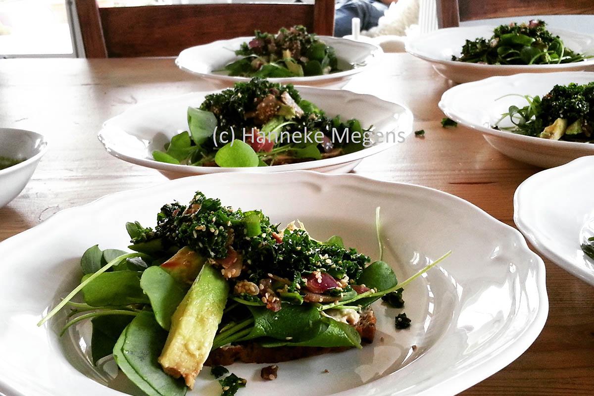 Mooi opgemaakte borden met eten